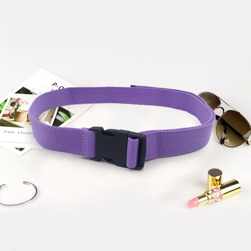 Модный черный холщовый ремень для женщин, повседневные женские поясные ремни с пластиковой пряжкой Harajuku, однотонные длинные ремни ceinture femme - Цвет: Purple