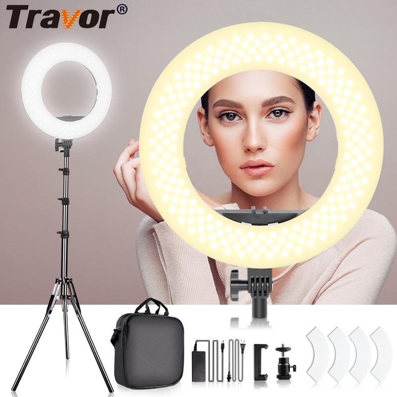 TRAVOR fotostudio ring licht 14 inch 384PCS LED ring lamp met 2M statief voor Make YouTube verlichting fotografie ringlicht-in Fotografieverlichting van Consumentenelektronica op  Groep 1