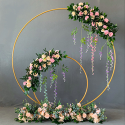 Żelazny okrąg łuk ślubny rekwizyty tło pojedynczy kwietny łuk trawnik zewnętrzny ślubny kwiat drzwi stojak ślubne dekoracje urodzinowe w Łuki ślubne od Dom i ogród na