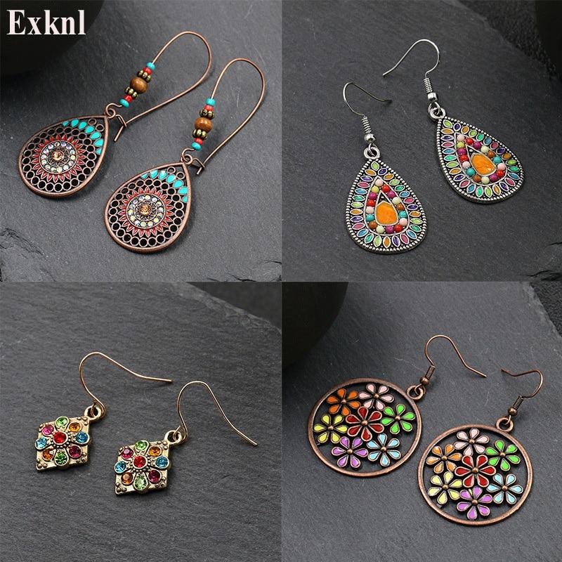 Exknl Fashion Vintage Drop Earrings For Women Alloy Crystal Ethnic Beads Boho Flower Earrings Colorful Dangle Earrings Jewelry