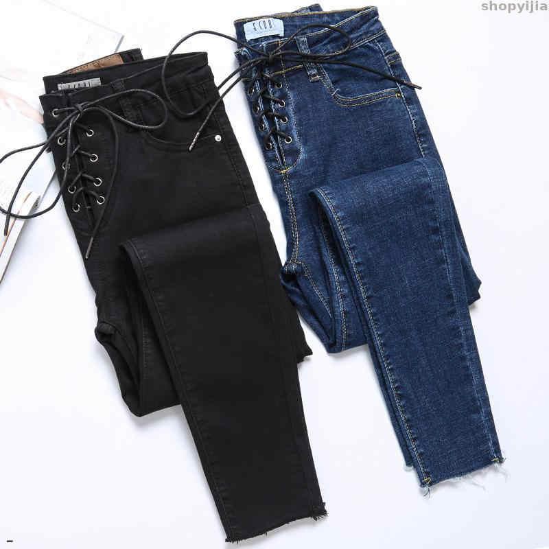 Casual drawstring estiramento velo magro ajuste calças de brim mulheres preto cintura alta jeans moda coreano sexo denim calças de inverno