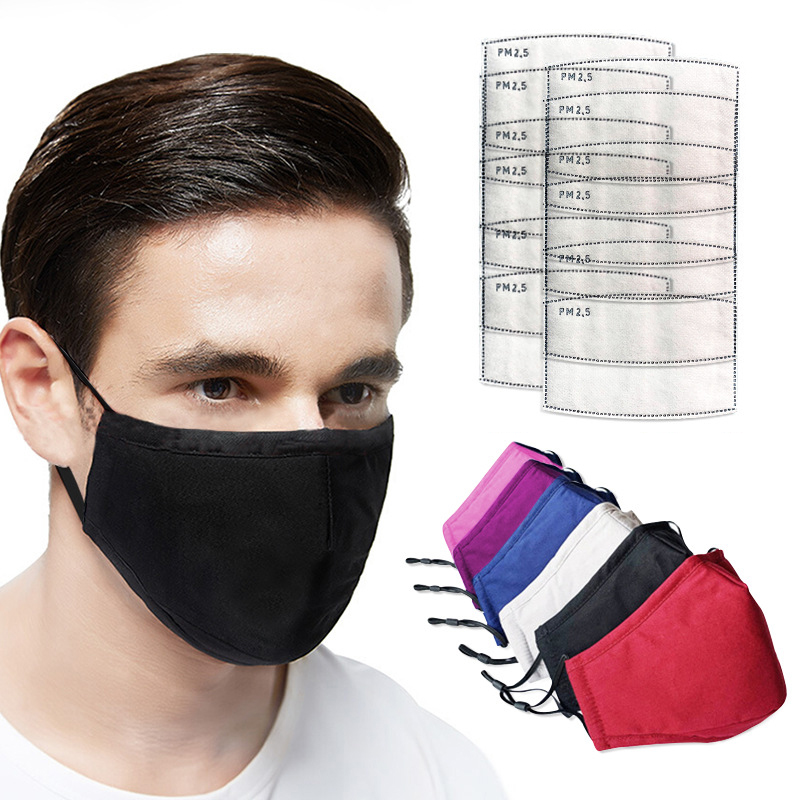Cotton Mask Mouth Mask Face Mask Washable Reusable Anti PM2.5 Anti-Dust Masks With 10pcs Activated Carbon Filter