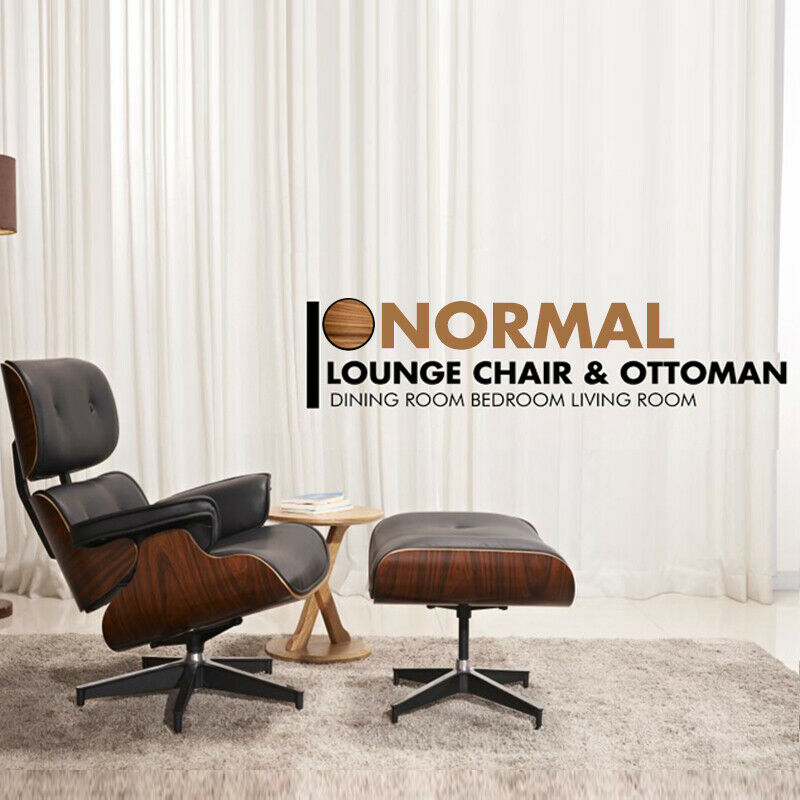 Mid-Century Lounge Chair&Ottoman Premium Quality Real Leather Real Wood Reproduction Style Sofa For Living/Dining Room Bedroom