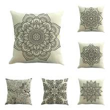 Vintage fundas decorativas para almohadas 45x45 cm gris patrón de flores funda de cojín para Hotel Fiesta granja fundas de cojines cuadrados
