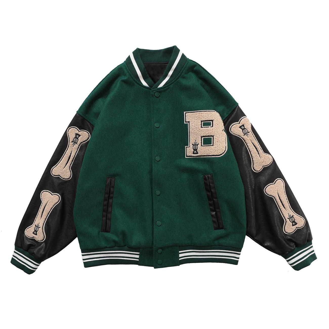 Vestes Hip Hop en Patchwork d'os de fourrure pour hommes, blouson de bloc de couleur Harajuku Streetwear pour hommes, manteaux de Baseball unisexes, 2021