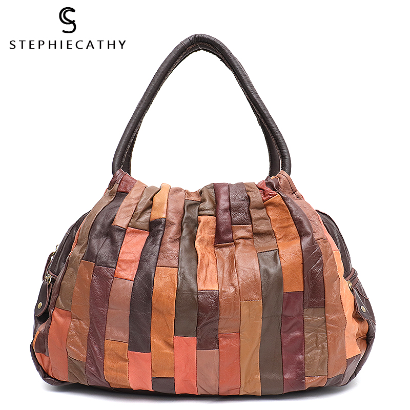 SC Brand Design Vintage Leather Patchwork Women Shoulder Bag Ladies Large Sheepskin Hobo Retro Style Female Travel Handbag Bolsa