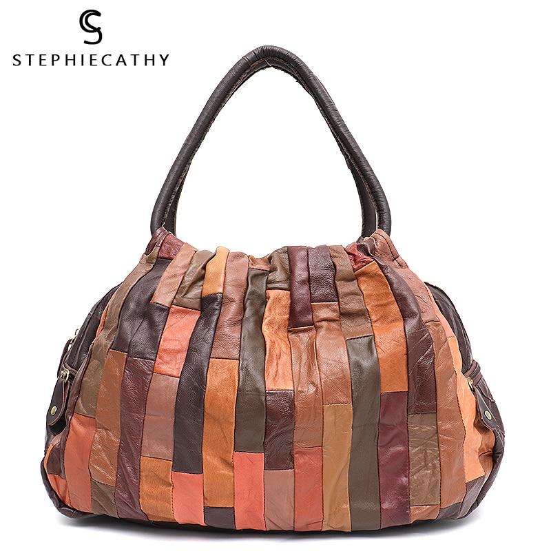 SC Marke Design Vintage Leder Patchwork Frauen Schulter Tasche Damen Große Schaffell Hobo Retro Stil Weibliche Reise Handtasche Bolsa