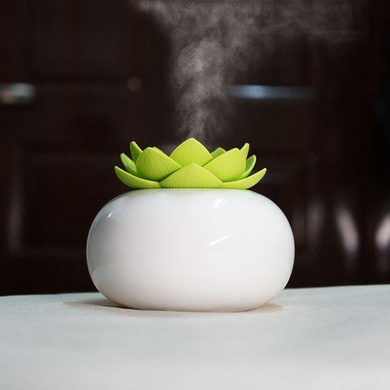 200Ml Ceramic Ultrasonic Aroma Humidifier Air Diffuser Simplicity Lotus Purifier Atomizer Essential Oil Diffuser