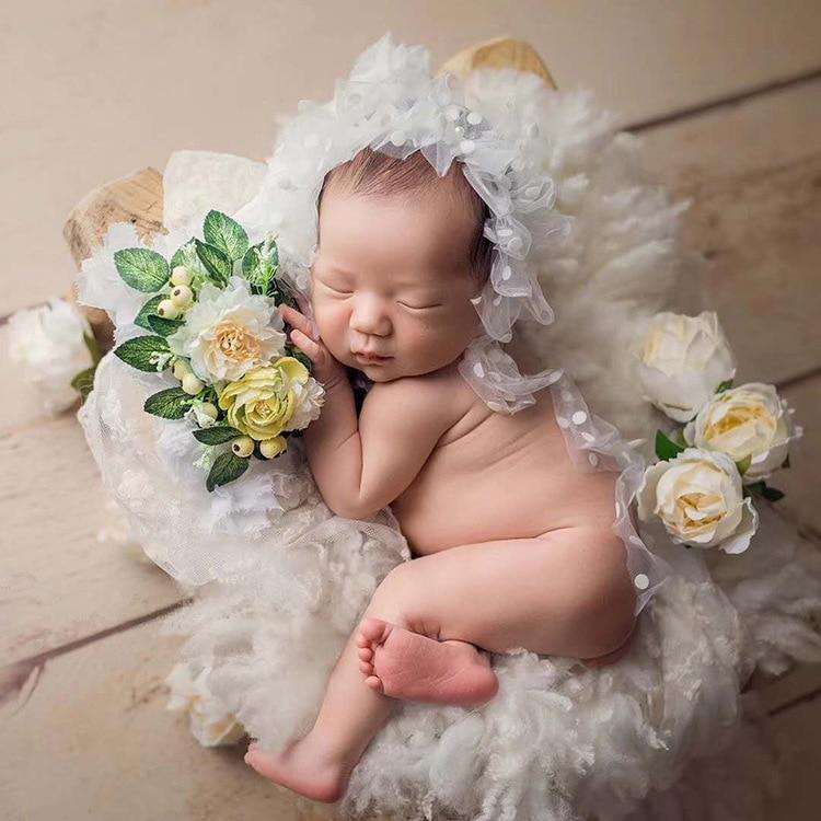 Newborn Photo Shoot Posing Beans Bag Baby Hair Accessories Floral Headband Newborn Positioner Pillow Basket Stuffer