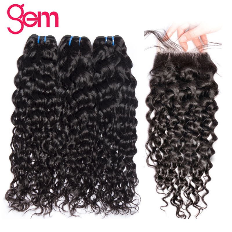 Brazilian Water Wave Bundles With Closure Human Hair 3 Bundles With Lace Closure Free Part GEM Beauty Non Remy Hair Extension 1b-in 3/4 Bundles with Closure from Hair Extensions & Wigs    1