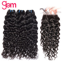 Brazilian Water Wave Bundles With Closure Human Hair 3 Bundles With Lace Closure Free Part GEM Beauty Non Remy Hair Extension 1b(China)