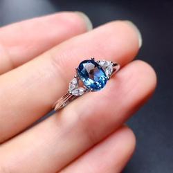 Женское кольцо с натуральным топазом, кольцо в простом стиле из серебра 925 пробы