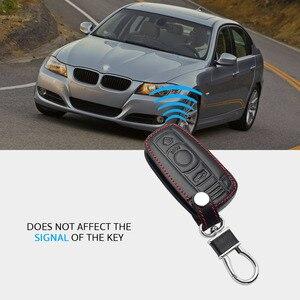 Image 4 - Leather Car Key Case For BMW E90 E60 E70 E87 1 3 5 6 Series M3 M5 X1 X5 X6 Z4 Keychain Holder Protector Cover Bag Auto Accessory
