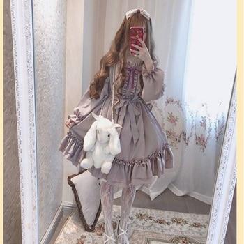 Fashion Women Sweet Lovly Lolita Clothes Kawaii Dress Cute Japanese Lolita Style Ruffle Dress Vintage Puff Sleeve Sweet Lavender Women's Clothing & Accessories cb5feb1b7314637725a2e7: Long Sleeve|Short Sleeve