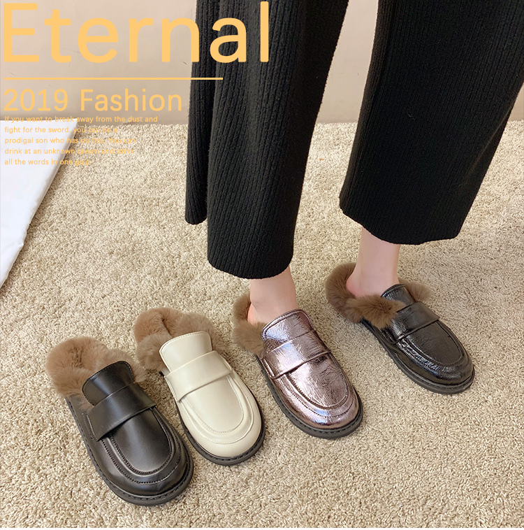 Cover Toe Female Shoes Loafers Womens Slippers Outdoor Mules Sexy Platform Slides Fur Flip Flops 2019 Soft Flat Plush PU with 28
