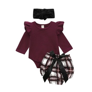 New Baby  girl clothes set fly sleeve romper +floral pants +headband clothes autumn Wear 6M-2T 1