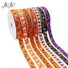 JOJO BOWS 25mm 5y Halloween Grosgrain Stain Ribbon For Needlework Spider Pumpkin Printed Tape DIY Crafts Holiday Decoration