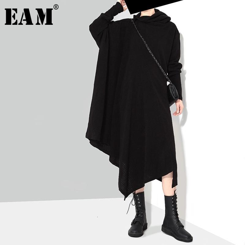 [EAM] Women Asymmetrical Long Knitting Big Size Dress New High Collar Long Sleeve Loose Fit Fashion Spring Autumn 2020 AS171