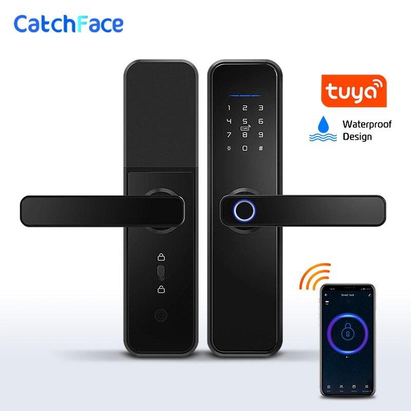 Tuya Smart Fingerprint Door Lock Safe Digital Electronic Lock With WiFi APP Password RFID Unlock For Home Security(China)