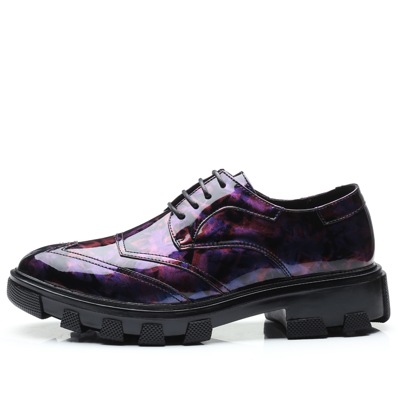 New Design Men Platform Oxfords Shoes Patent Leather Height Increasing Wedding Dress 3#15D50