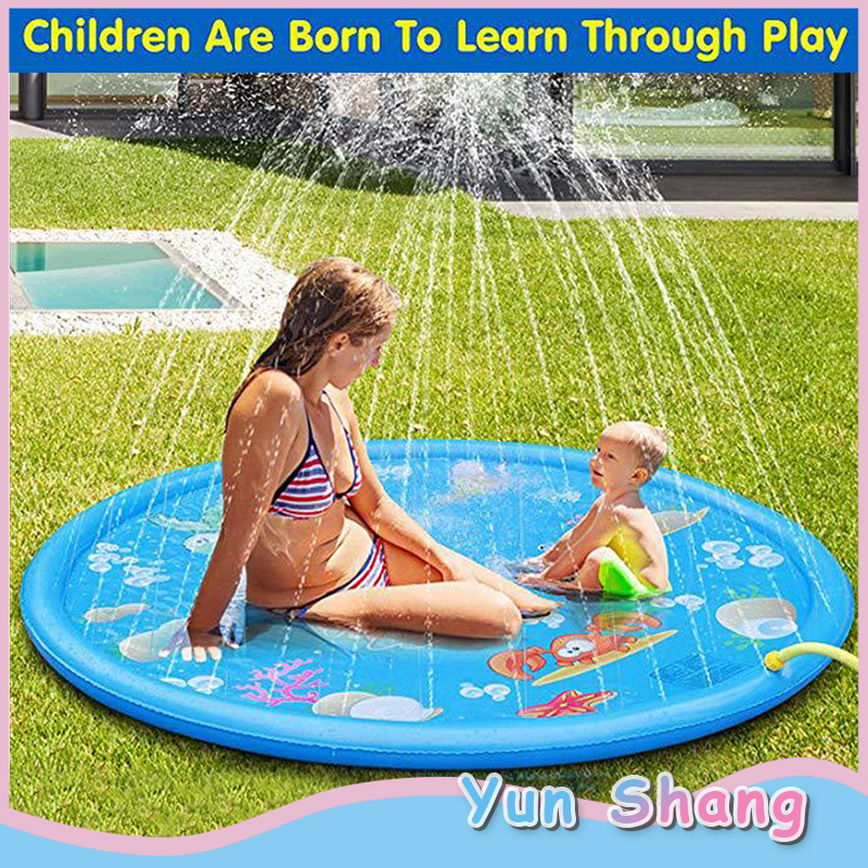 170cm Children's Outdoor Play Water Spray Mat Summer Games Beach Lawn Inflatable Sprinkler Cushion Toys Cushion Gift Kids Baby