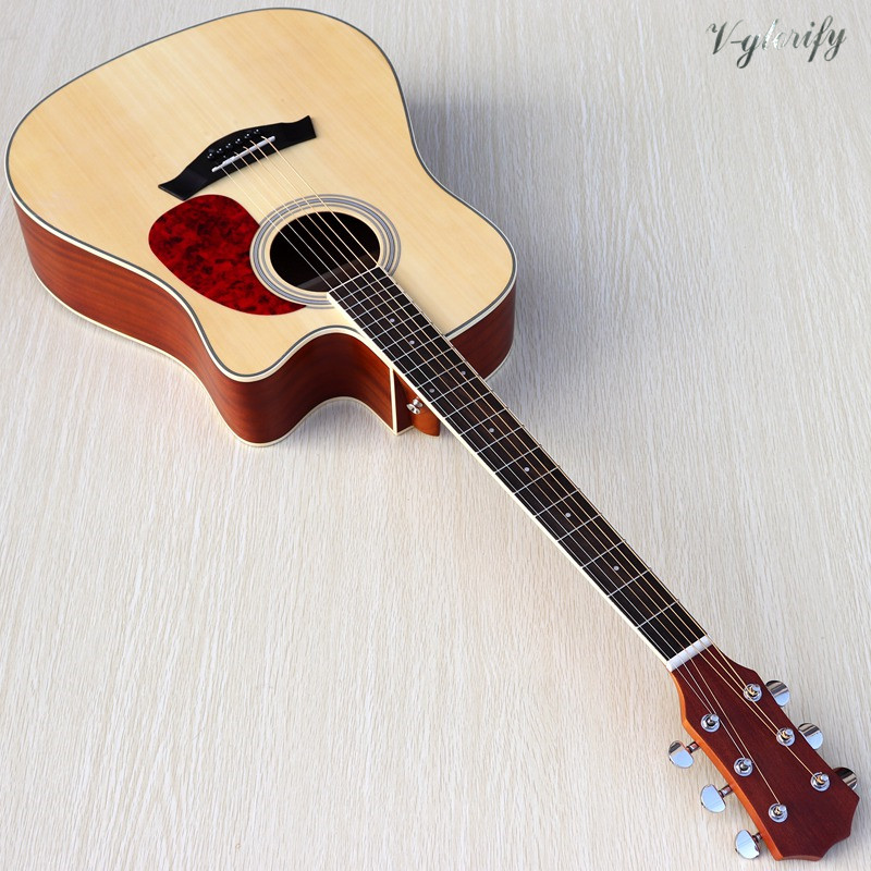2020 new arrival natural color acoustic-electric guitar 41 inch acoustic guitar cutway folk guitar with EQ