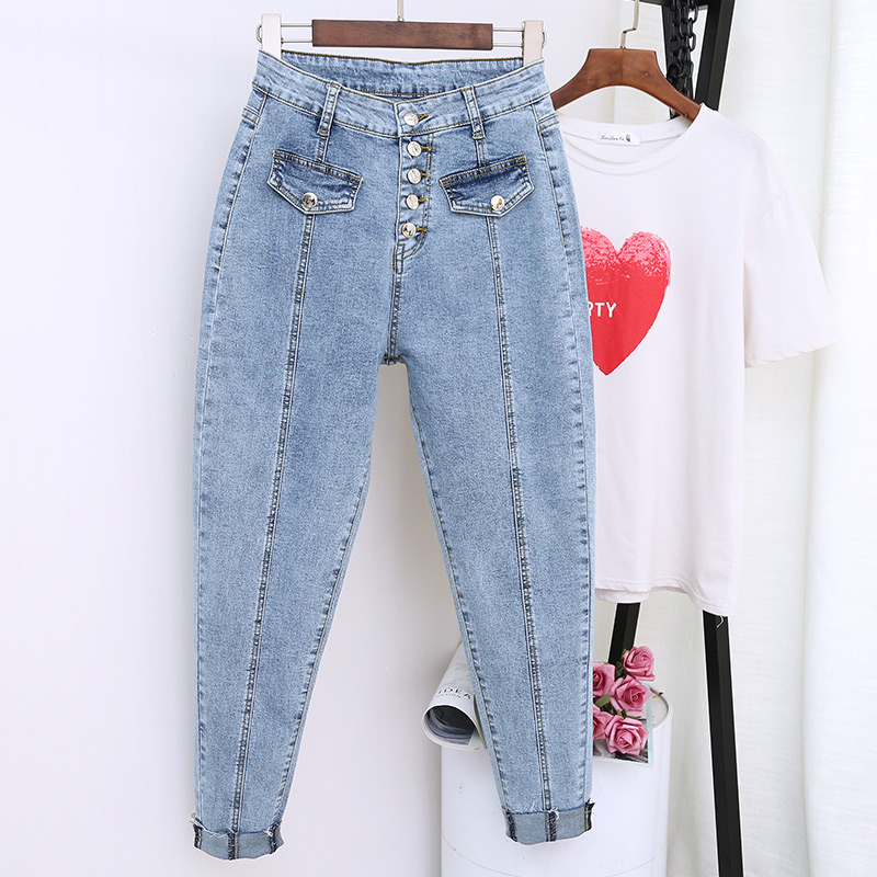 Plus Size 5XL Jeans Women With High Waist Casual Jean Boyfriend Femme Denim Loose Harem Pants Streetwear Vintage Mom Jeans K606