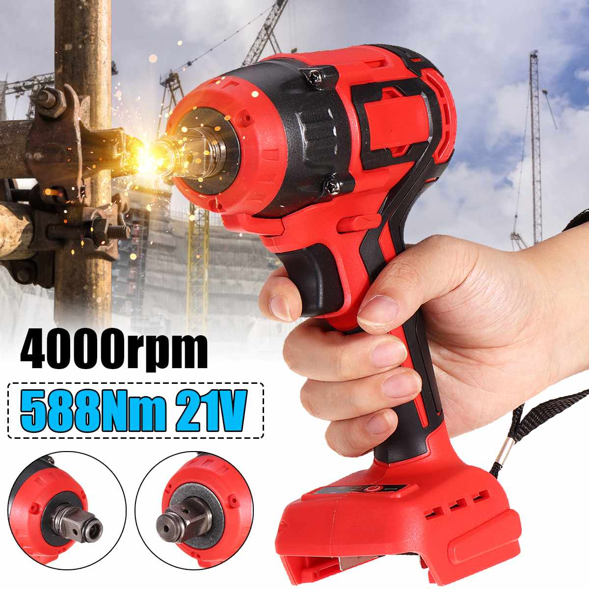 21V 588Nm Electric Brushless Impact Wrench Rechargeable Wrench Power Tool Cordless With 3 LED Light Without Battery Accessories