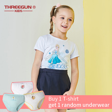 THREEGUN X DISNEY Frozen Girls T-Shirt Elsa Princess Tee Cotton Breathable Soft T Shirt Kids Summer Party Top Clothing