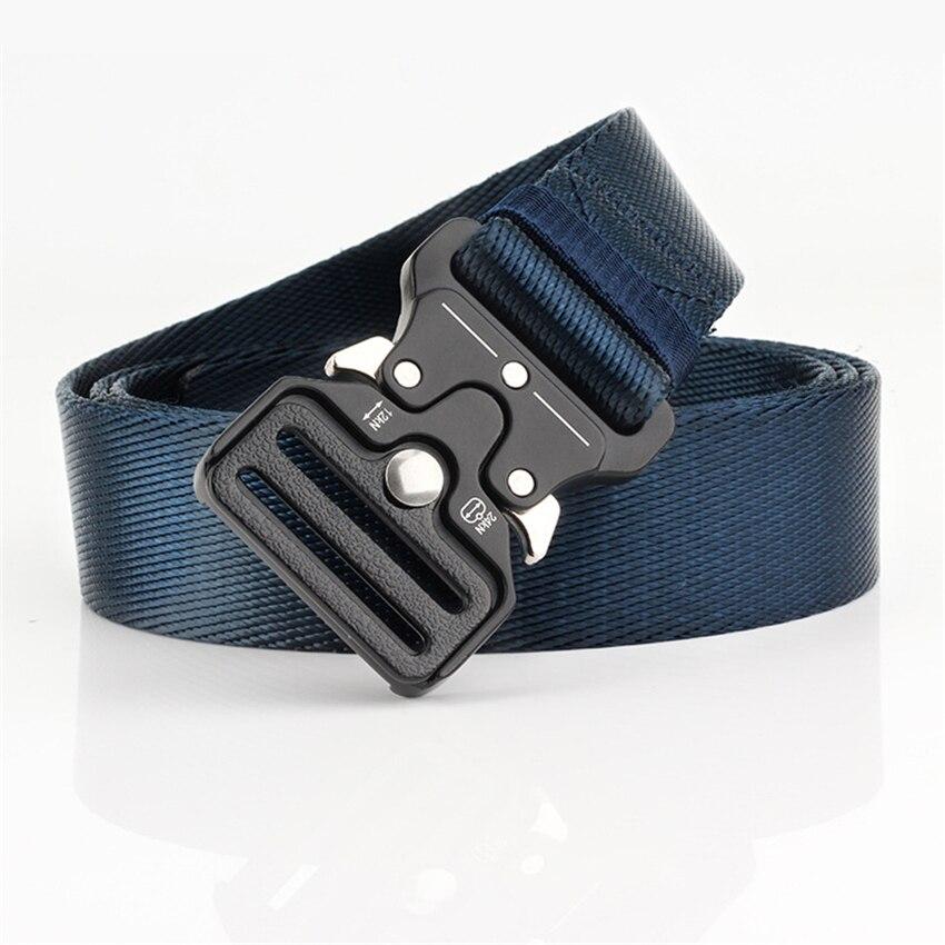 Cinturón de lona ancha de 3,2 CM para hombre y mujer, cinturón táctico de diseñador, informal, con hebilla de Metal