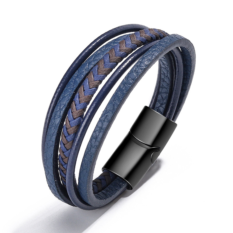 ZOSHI Braided Blue Color Leather Bracelets for Men Armband Heren Trendy Genuine Leather Bracelets with Magnetic Buckle