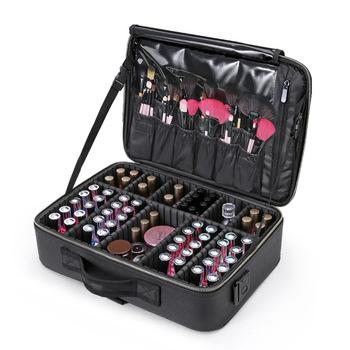 Profesjonalna jakość torba na kosmetyki kobiece piękno paznokci Box kosmetyczka podróż duża pojemność przechowywania torby walizki do makijażu tanie i dobre opinie Oxford 10cm Patchwork 29cm 40CM Sprawy kosmetyczne zipper Moda 1 9kg