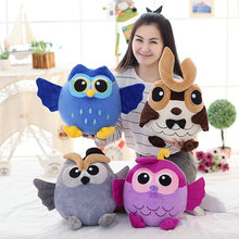 25-55cm new arrive style Owl Doll Pillow Plush Toys gray/blue/purple/tan colorful bird doll Birthday gift Kids Drop Shipping(China)