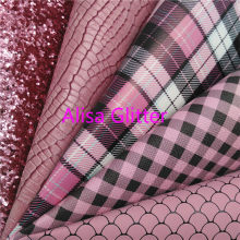 1PCS A4 SIZE 21X29cm Alisa Glitter Pink Glitter Fabric, Plaids Tartan Faux Leather Fabric,Synthetic Leather PU for Bow DIY C09E(China)