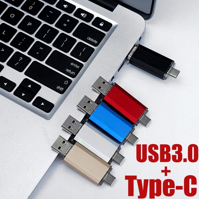 USB Flash Drive 32GB OTG Metal Waterproof Pen Drive Key 64GB 128GB 256GB Type C Pendrive Mini Flash Drive Memory Stick 16GB