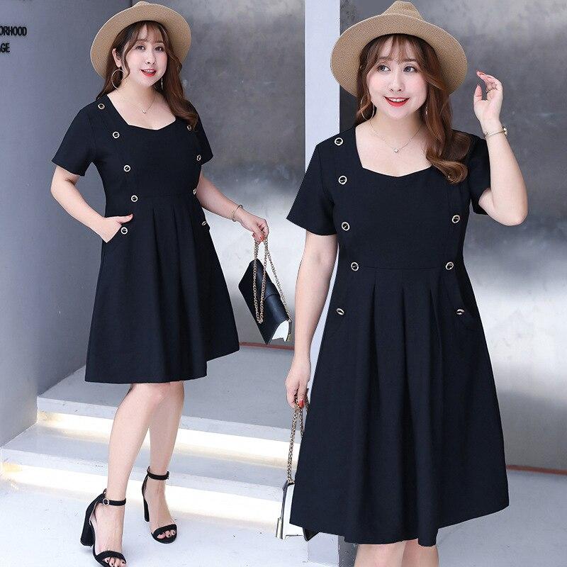 2019 Summer New Products Large Size Dress-Style Elegant Dress Trend Sweet Skirt Fat Mm Dress 6608