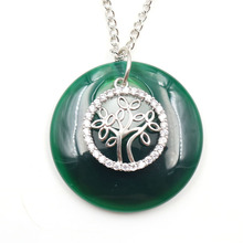 FYJS Unique Silver Plated Tree of Life Green Agates Round Pendant with Rhinestone Link Chain Necklace Lapis Lazuli Jewelry