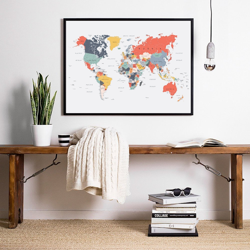 World map Poster Happy Colors Home Decor