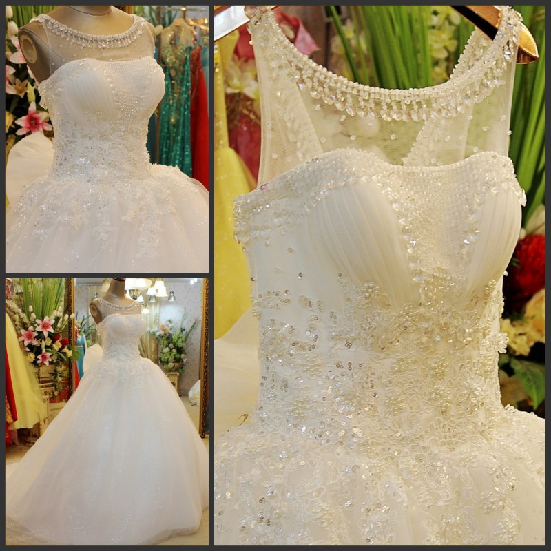 Real Sample Ball Gown Scoop Long Train Luxury Lace Beaded White Ivory Wedding Dresses Wedding Gowns 2015 Free Shipping JO66