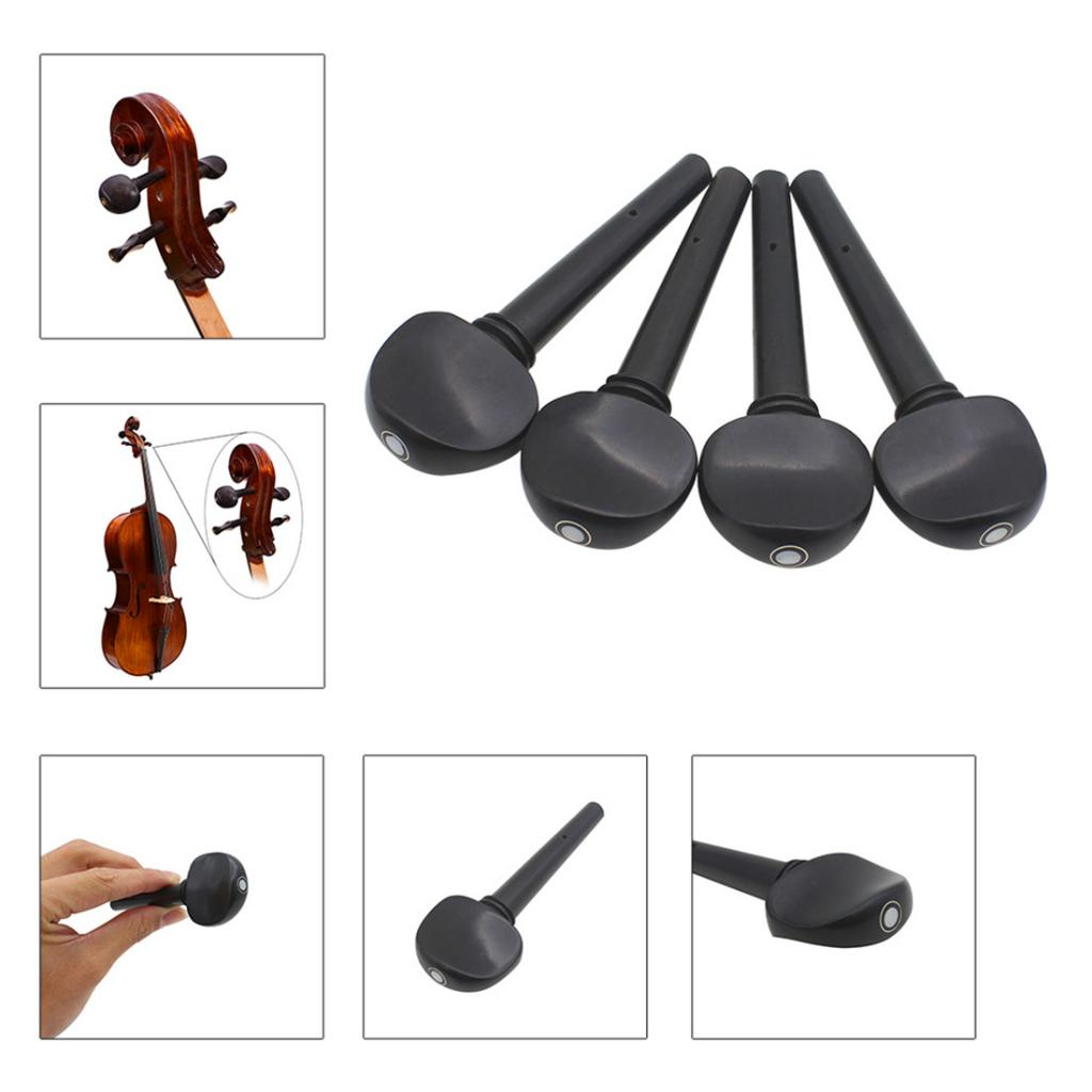 Exquisite 4 Pieces Ebony 3/4 4/4 Cello Machine Heads With Dot Inlaid Black Cello    - AliExpress