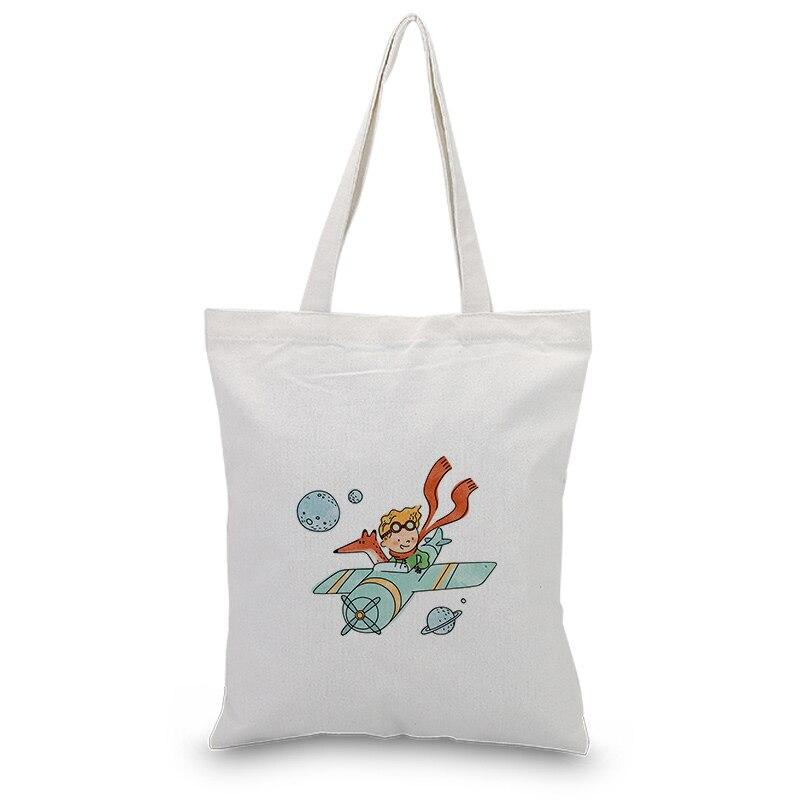 Little Prince Serial Canvas Tote Bag Custom Print Logo Text Daily Use DIY Eco Ecologicas Reusable Shopping Bag Recycle Handbag