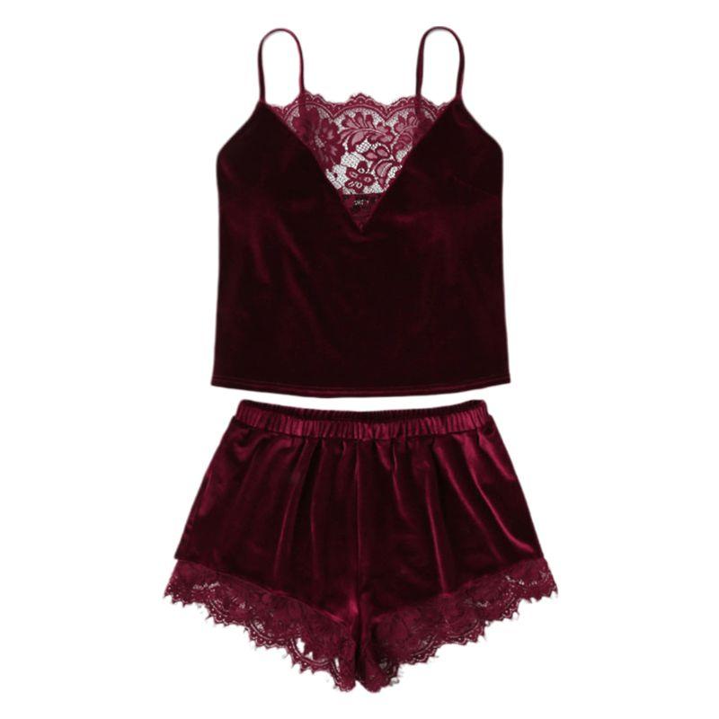 Women Sexy Velvet Lingerie Sleepwear Spaghetti Strap Cami Top Wide Leg Shorts Eyelash Floral Lace Splice Solid Color Pajamas Set