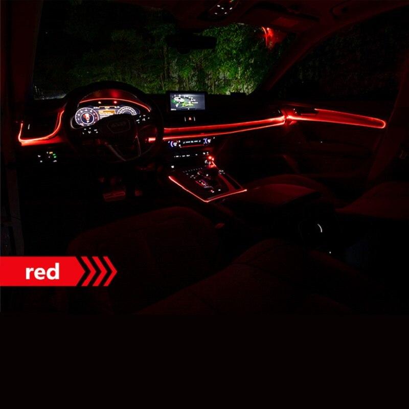 1PC Neue Sound Aktiv EL Neon Draht Streifen Licht RGB LED Auto Innen Licht Multicolor Bluetooth Telefon Steuer Atmosphäre licht 12V