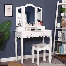 Armários para o quarto moda nordic cômoda espelho fezes cadeira conjuntos de móveis móveis maquiagem vaidade placa densidade hwc