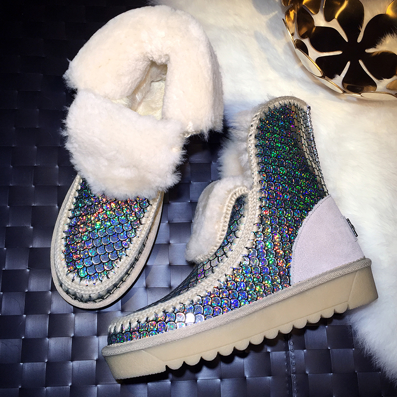Womens Ankle Boots Thick Wool Fur Lined Winter Shiny Bling Sequins Scale Warm Pull On Casual Snow Shoes Thicken 2Colors Plus Sz