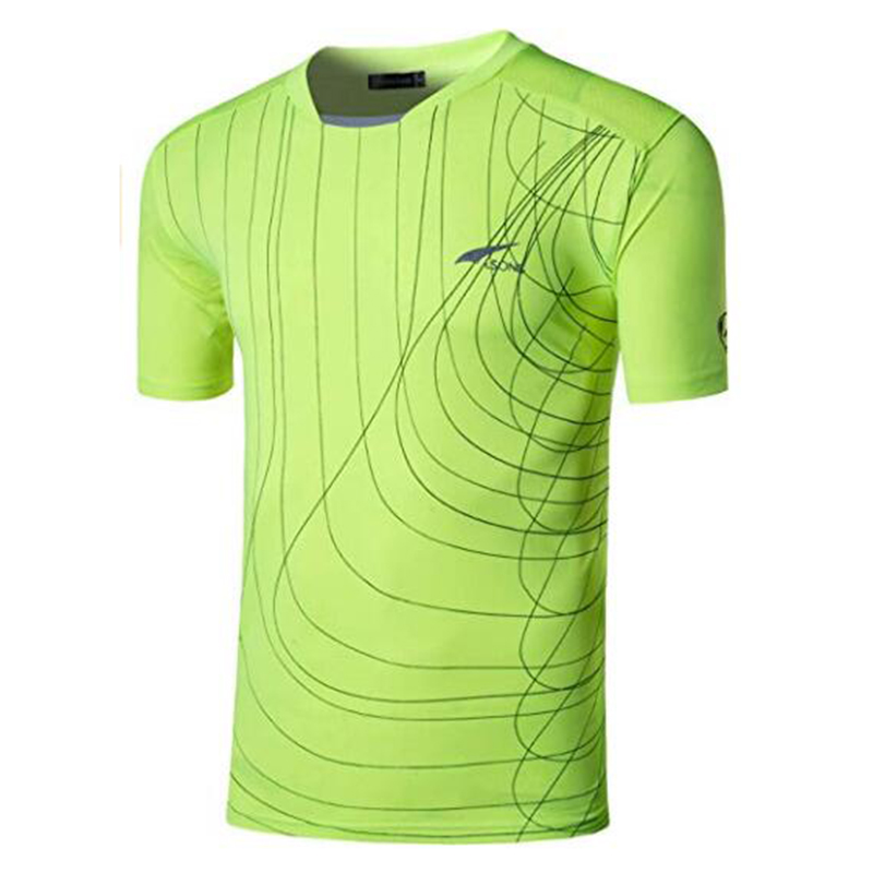 Jeansian Men 39 s T Shirt Tshirt Tee Shirt Sport Short Sleeve Dry Fit Running Fitness Workout LSL606 GreenYellow2 in T Shirts from Men 39 s Clothing