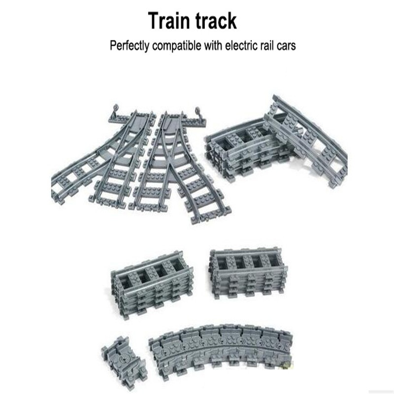 City Trains Train Flexible Track Rail Crossing Straight Curved Rails Figure Blocks DIY Bricks Toys For Children Compatible Lepin