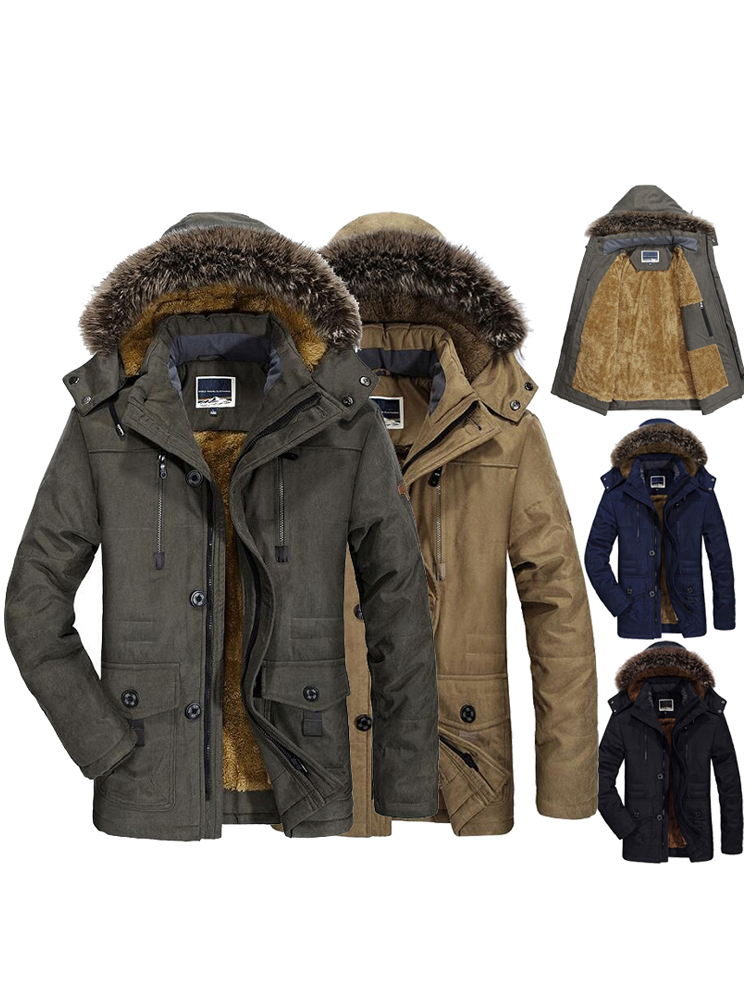Male Jacket Coat Padded Parka Hooded Faux-Fur Windbreaker Men Fleece Warm Plus-Size Long
