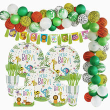 Jungle Animal Party Aap Leeuw Folie Ballon Verjaardagsfeestje Decoratie Kids Wegwerp Servies Cake Toppers Baby Shower(China)
