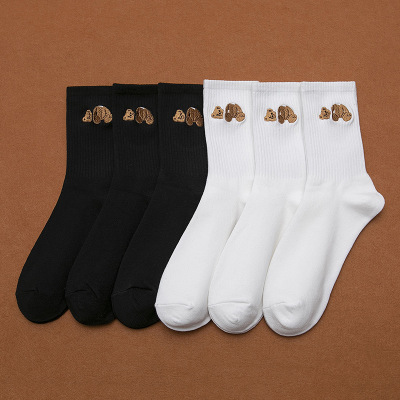<font><b>Palm</b></font> tree <font><b>angel</b></font> decapitated cub embroidery women socks fashion sports pure cotton middle tube socks for <font><b>men</b></font> and women image